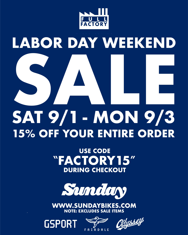 Labor Day Weekend Sale Sunday Bikes